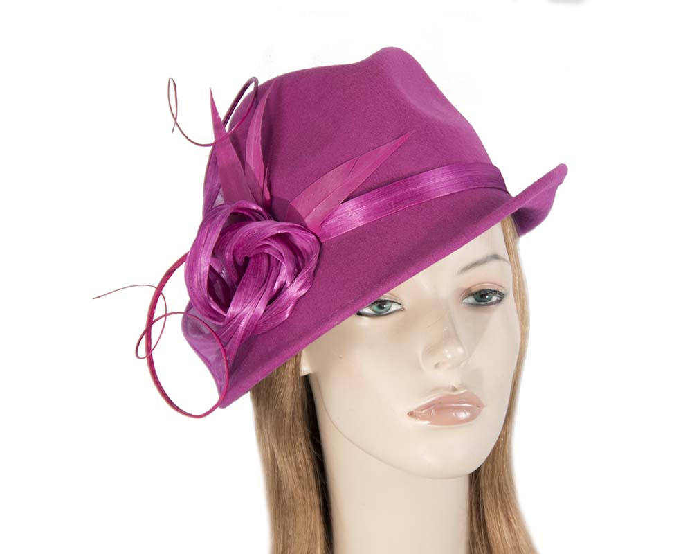 Fascinators Online - Exclusive fuchsia felt trilby hat by Fillies Collection 54