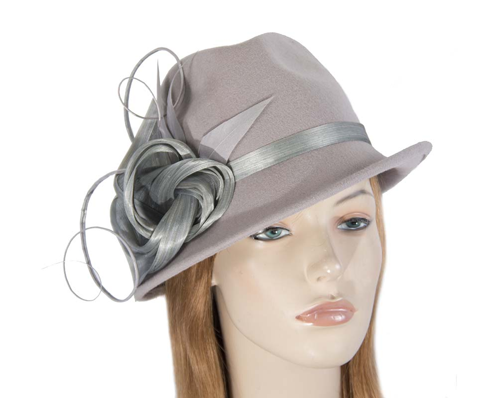 Fascinators Online - Exclusive grey felt trilby hat by Fillies Collection 53
