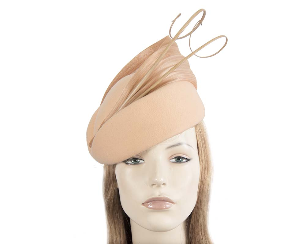 Fascinators Online - Beige felt ladies fashion beret hat with feather by Fillies Collection 27