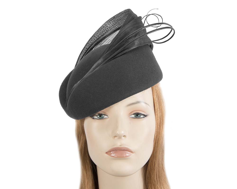 Fascinators Online - Black felt ladies fashion beret hat with feather by Fillies Collection 31