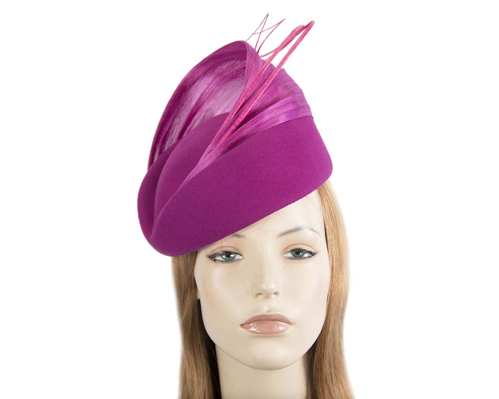 Fascinators Online - Fuchsia felt ladies fashion beret hat with feather by Fillies Collection 28