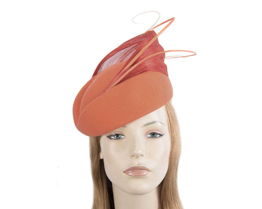 Fascinators Online - Orange felt ladies fashion beret hat with feather by Fillies Collection 32