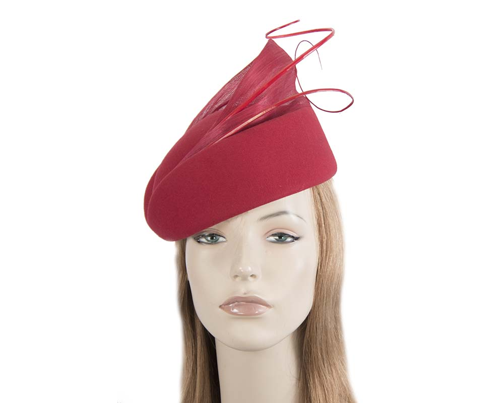 Fascinators Online - Red felt ladies fashion beret hat with feather by Fillies Collection 29