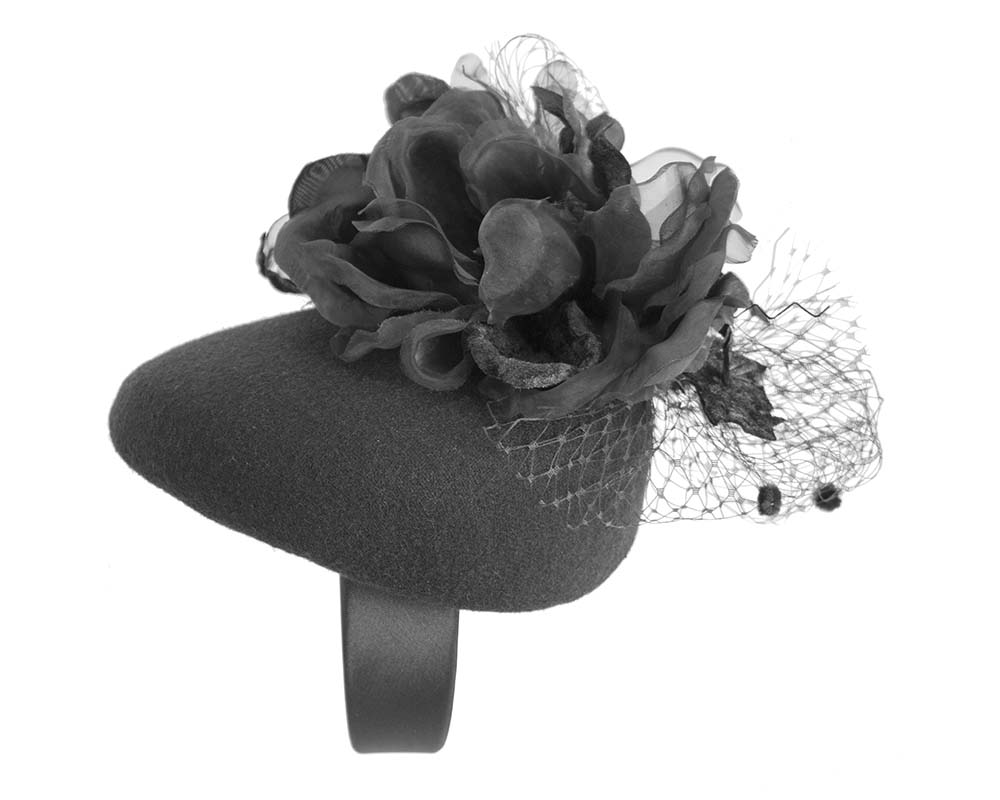 Fascinators Online - Black pillbox fascinator with flower by Fillies Collection 2