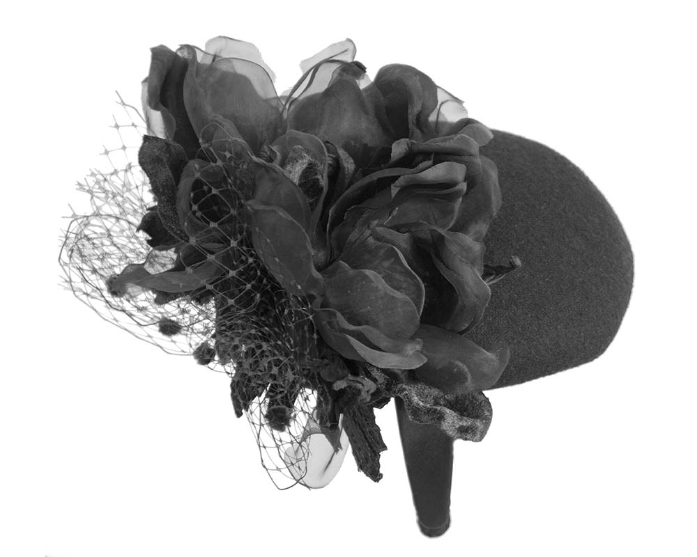 Fascinators Online - Black pillbox fascinator with flower by Fillies Collection 6