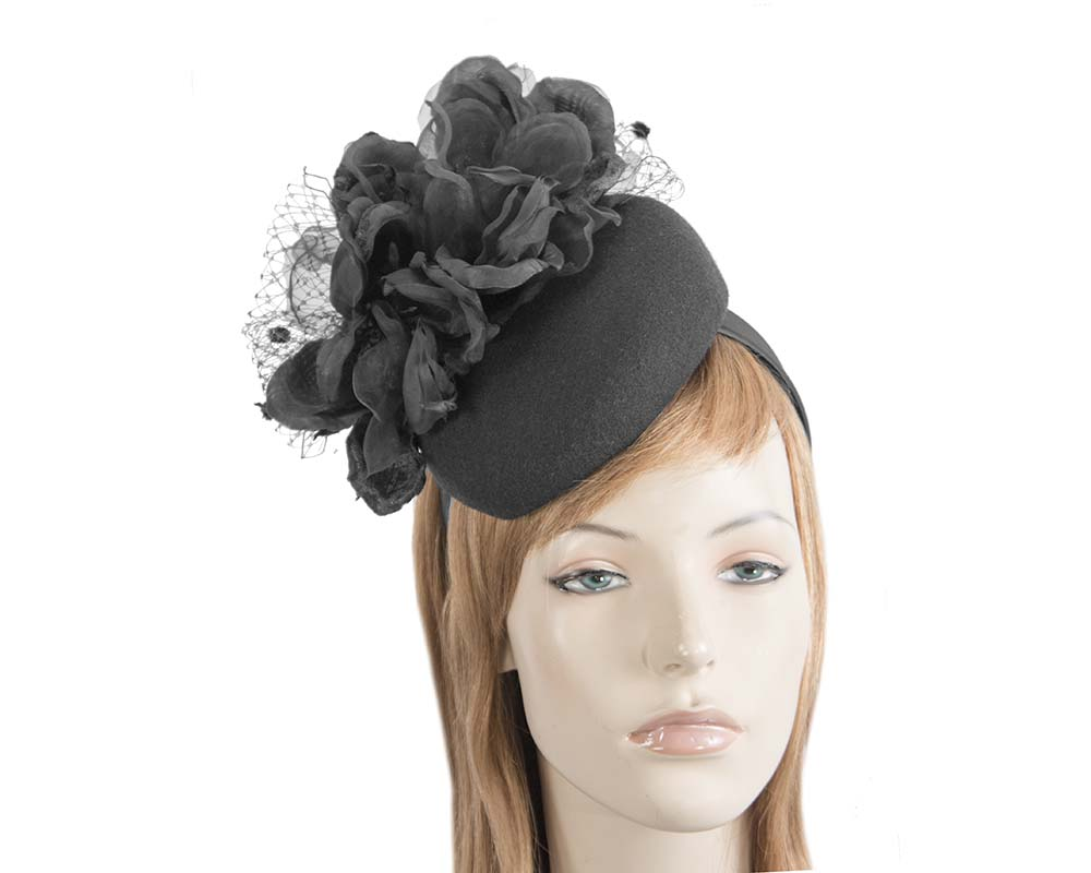 Fascinators Online - Black pillbox fascinator with flower by Fillies Collection 1