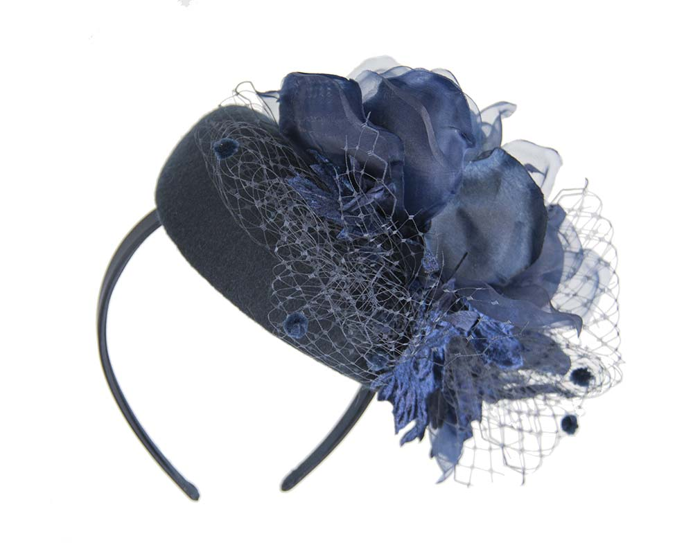 Fascinators Online - Navy pillbox fascinator with flower by Fillies Collection 3