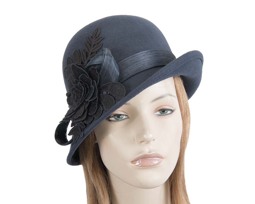 Fascinators Online - Exclusive navy felt cloche hat with lace by Fillies Collection 48