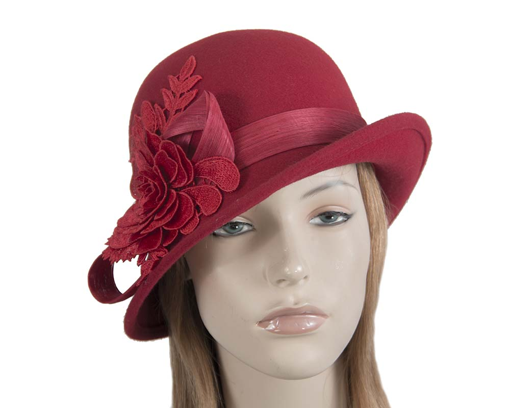 Fascinators Online - Exclusive red felt cloche hat with lace by Fillies Collection 50