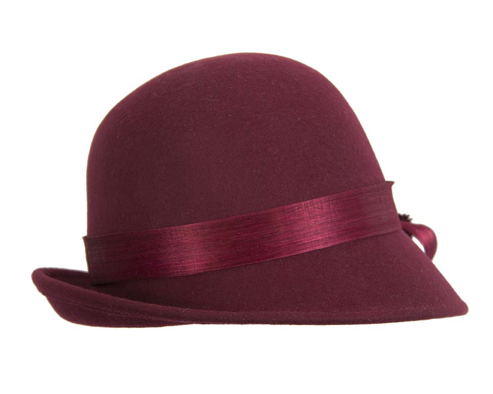 Fascinators Online - Exclusive burgundy felt cloche hat with lace by Fillies Collection 3