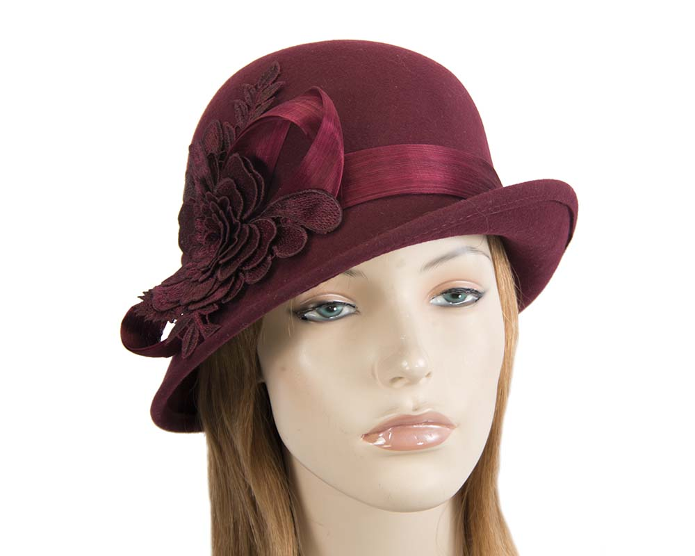 Fascinators Online - Exclusive burgundy felt cloche hat with lace by Fillies Collection 48