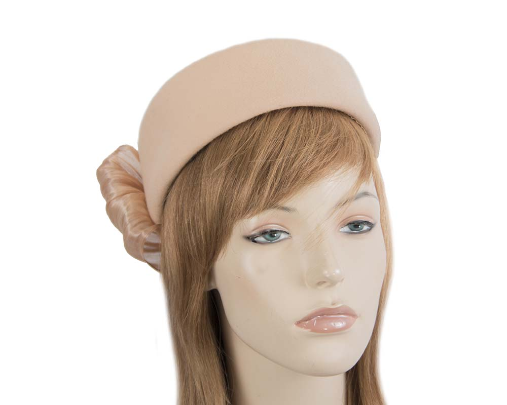 Fascinators Online - Beige felt ladies fashion beret hat with bow by Fillies Collection 35