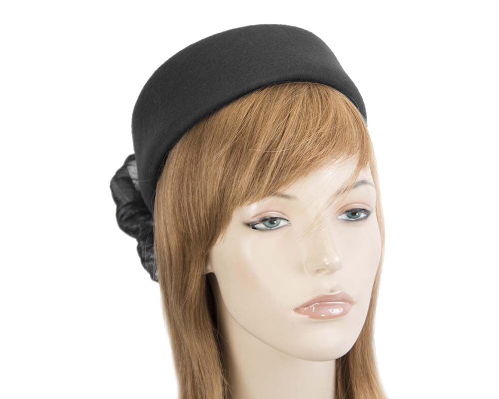 Fascinators Online - Black felt ladies fashion beret hat with bow by Fillies Collection 37