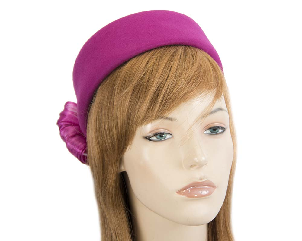 Fascinators Online - Fuchsia felt ladies fashion beret hat with bow by Fillies Collection 34