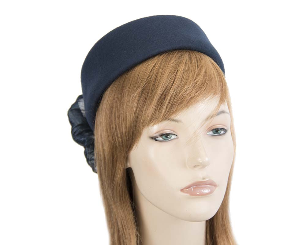 Fascinators Online - Navy felt ladies fashion beret hat with bow by Fillies Collection 37