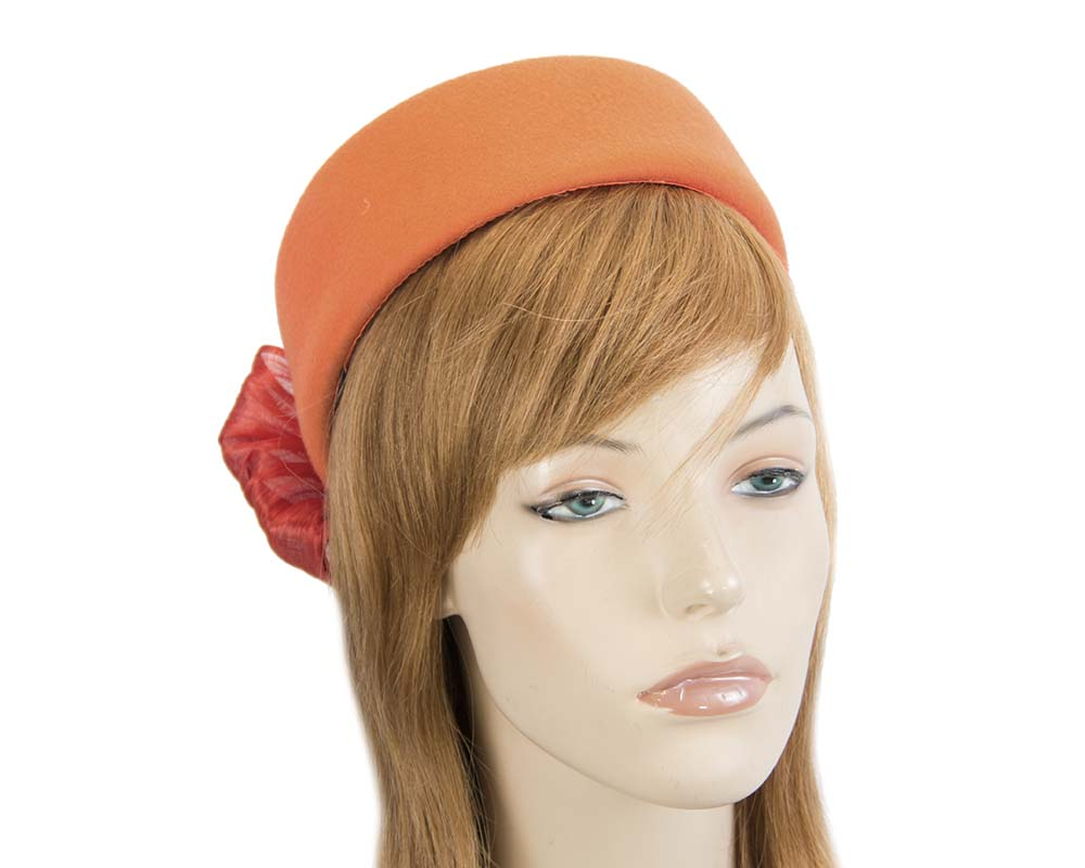 Fascinators Online - Orange felt ladies fashion beret hat with bow by Fillies Collection 34