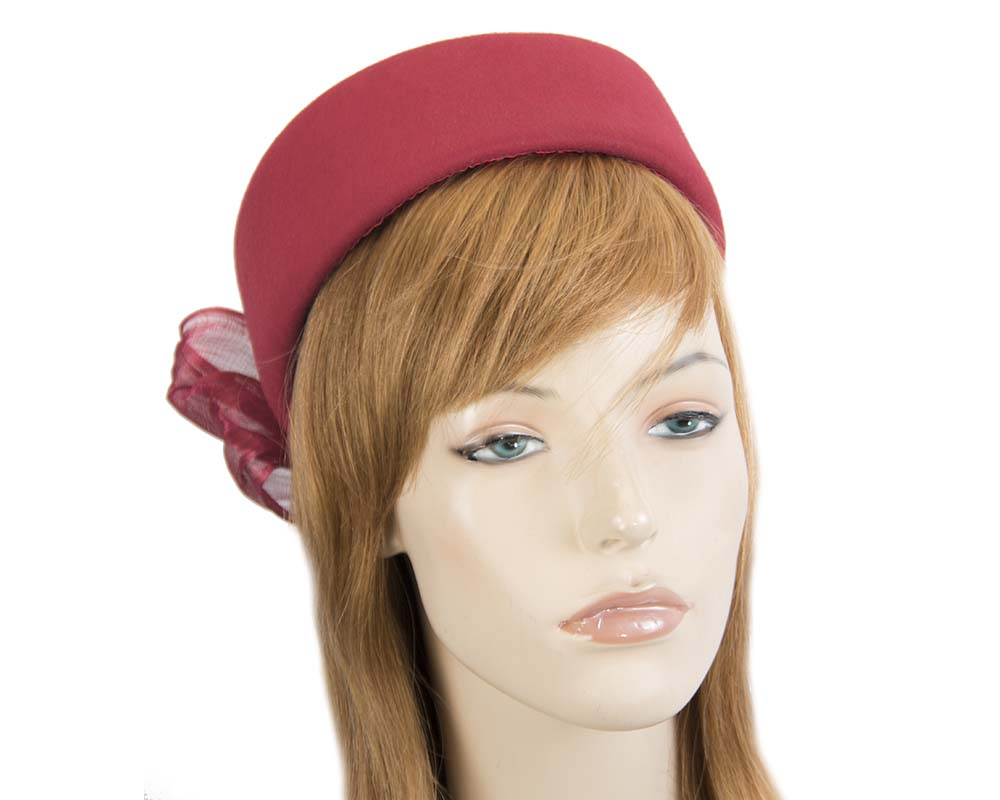 Fascinators Online - Red felt ladies fashion beret hat with bow by Fillies Collection 33