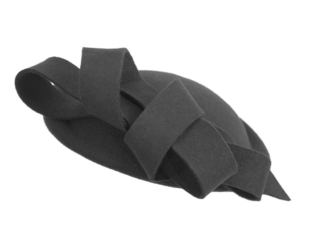 Fascinators Online - Large black felt fascinator hat by Fillies Collection 2