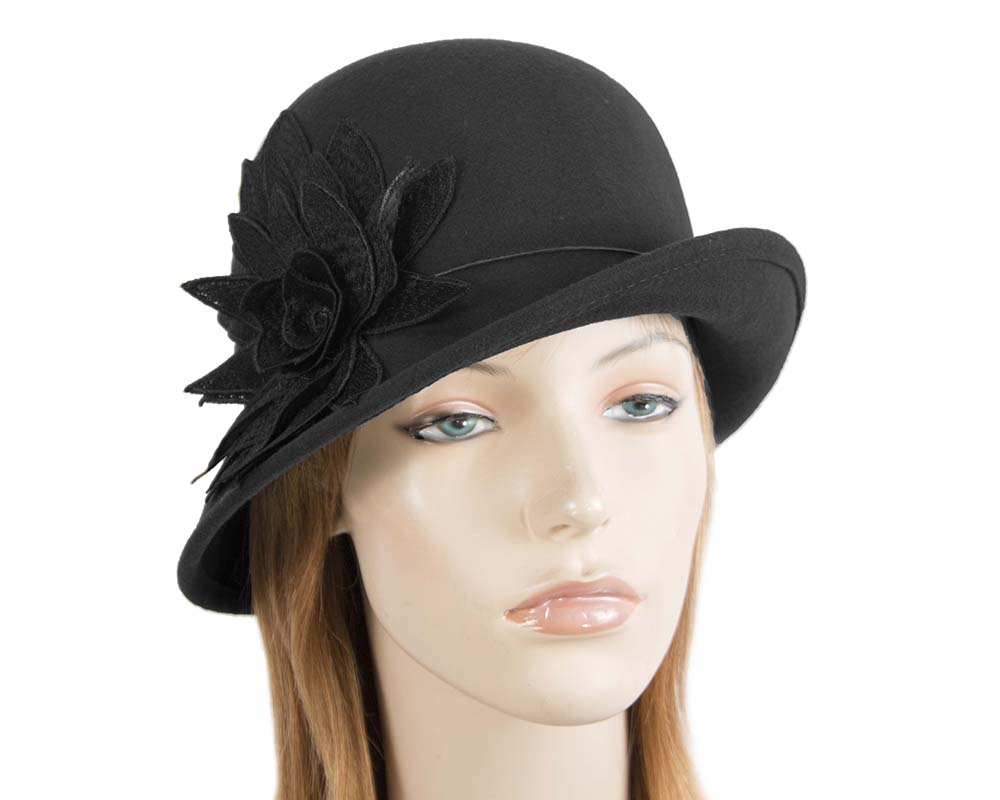 Fascinators Online - Black felt cloche hat with lace by Max Alexander 47