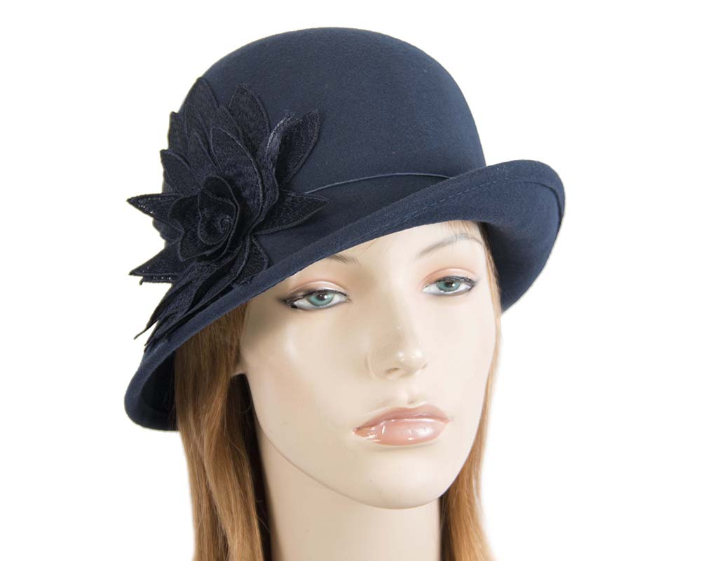 Fascinators Online - Navy felt cloche hat with lace by Max Alexander 46