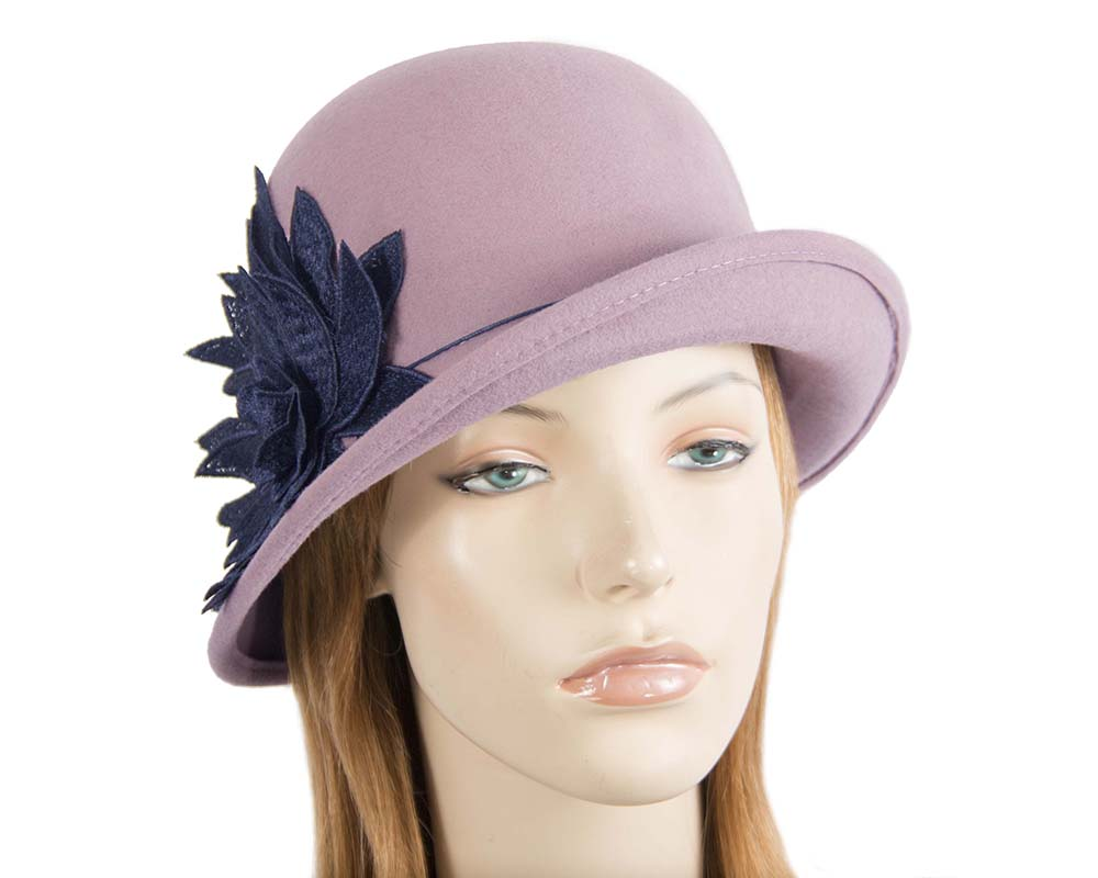 Fascinators Online - Dusty pink felt cloche hat with lace by Max Alexander 45