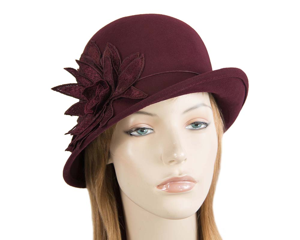 Fascinators Online - Burgundy felt cloche hat with lace by Max Alexander 42