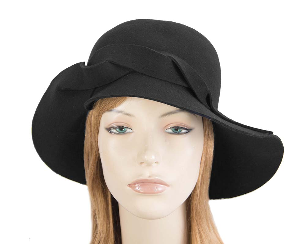 Fascinators Online - Unusual black felt wide brim hat by Max Alexander 26