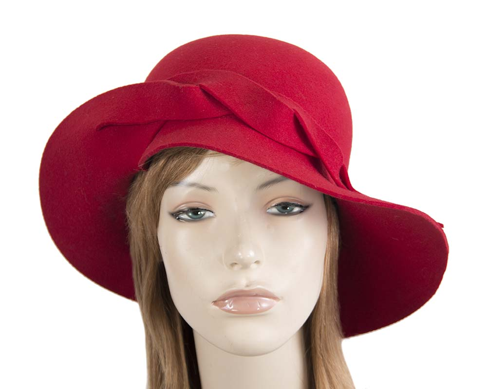 Fascinators Online - Unusual red felt wide brim hat by Max Alexander 24