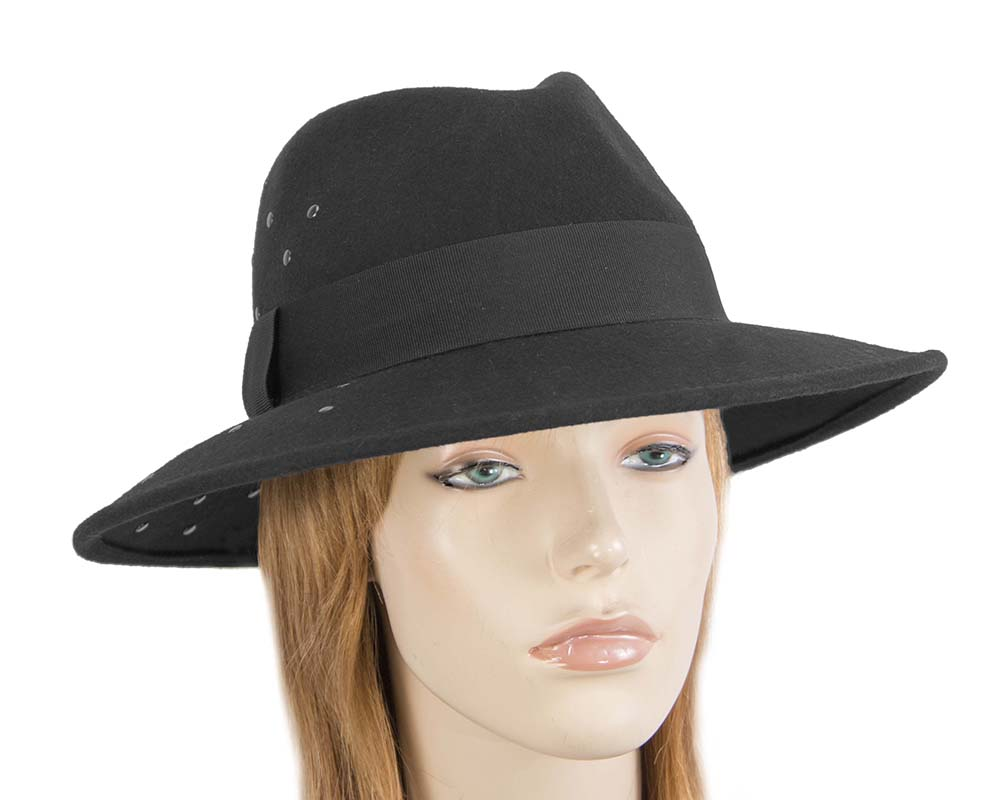 Fascinators Online - Wide brim black felt fedora hat by Max Alexander 23