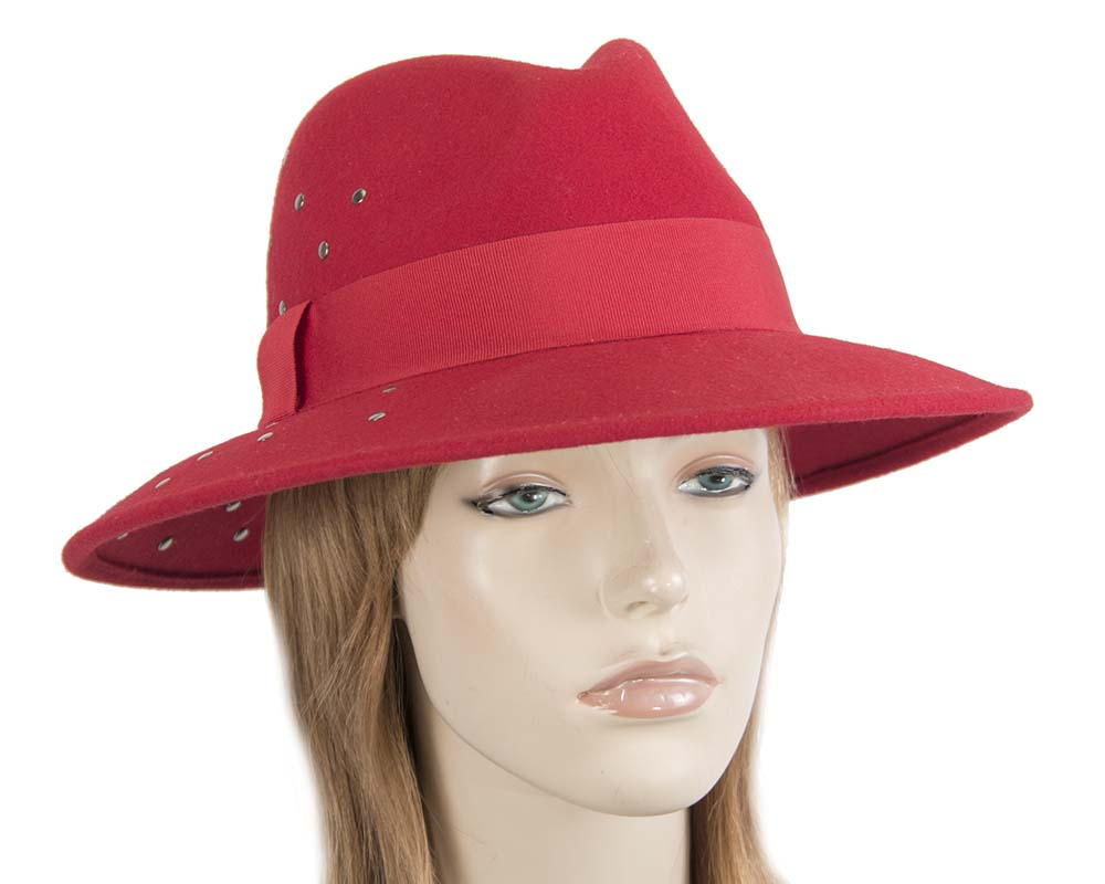 Fascinators Online - Wide brim red felt fedora hat by Max Alexander 22