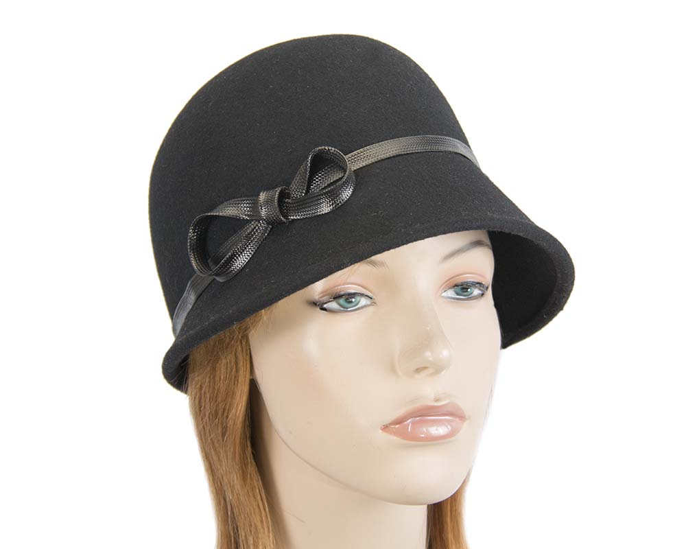 Fascinators Online - Black felt cloche hat by Max Alexander 20