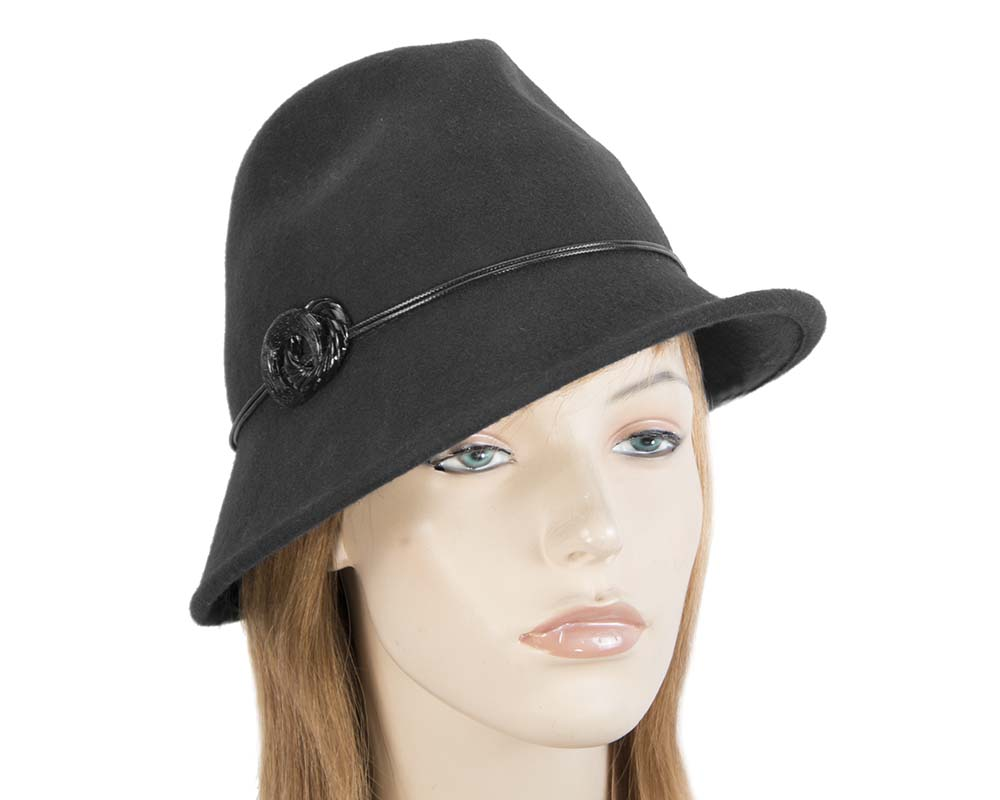Fascinators Online - Black felt trilby hat by Max Alexander 42