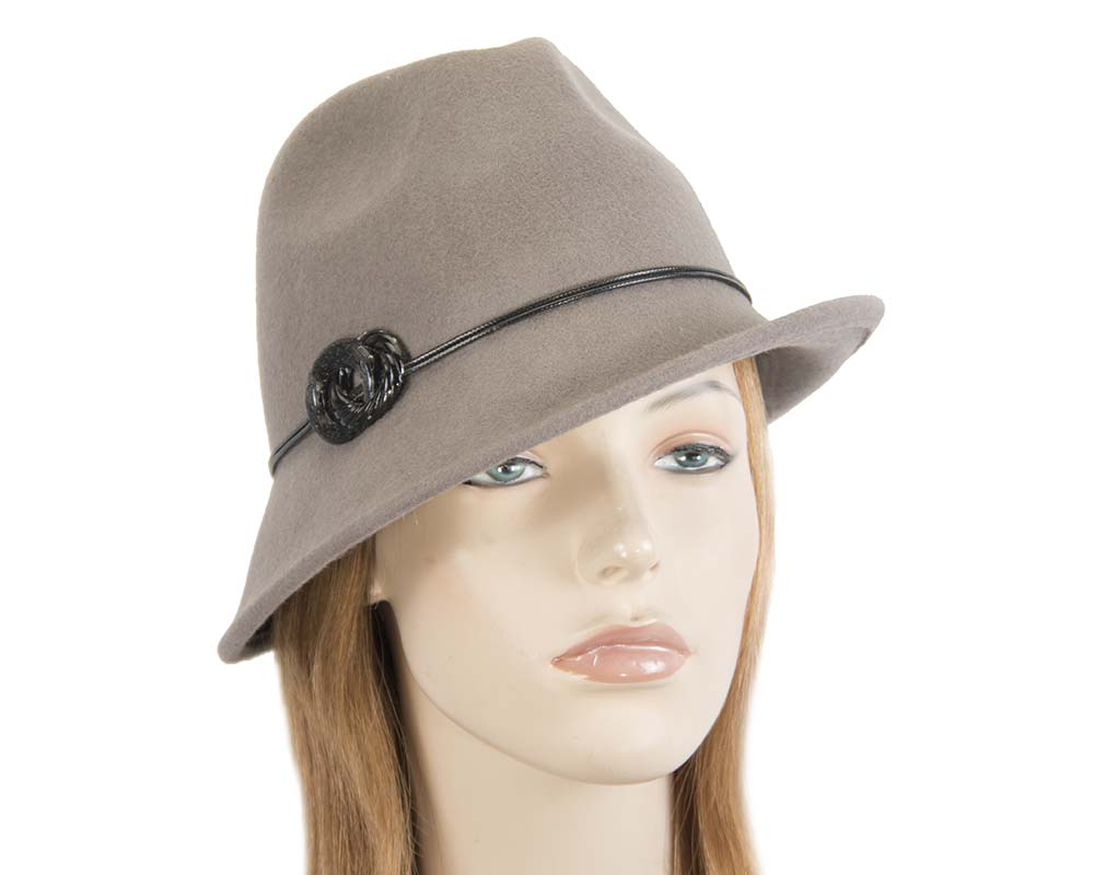 Fascinators Online - Grey felt trilby hat by Max Alexander 39
