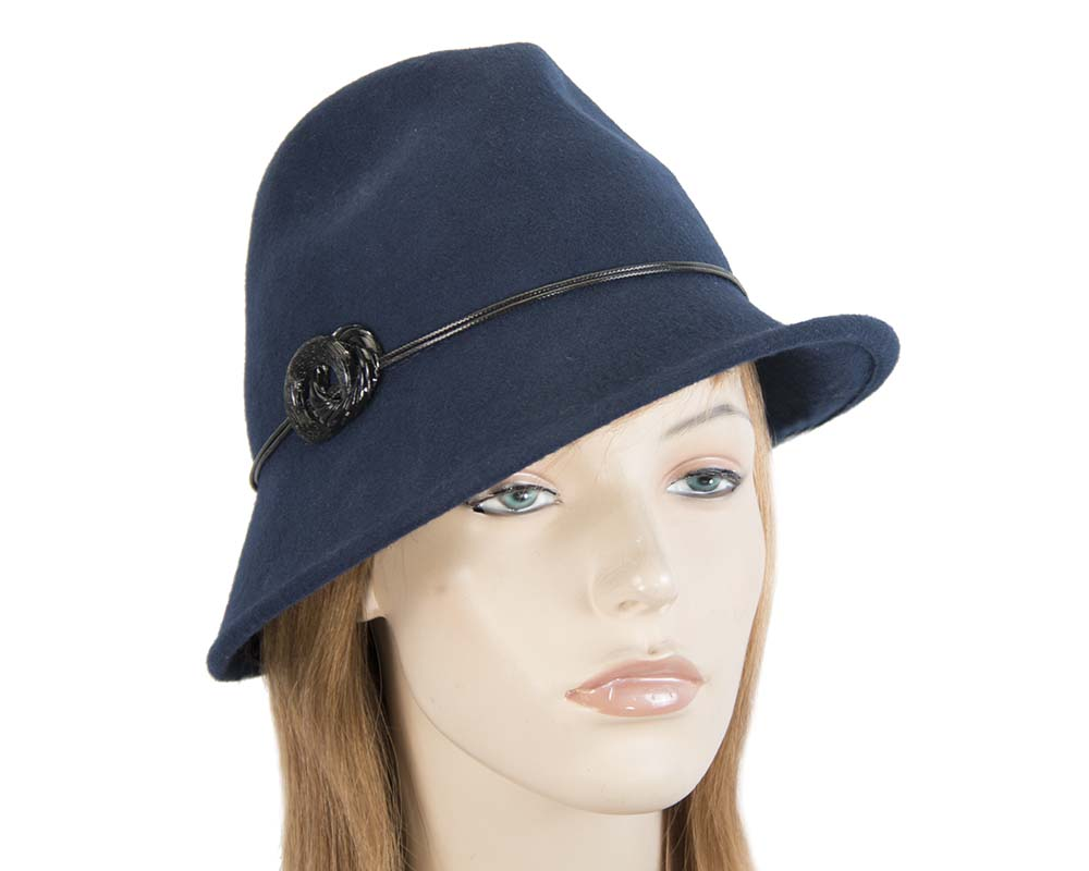 Fascinators Online - Navy felt trilby hat by Max Alexander 41