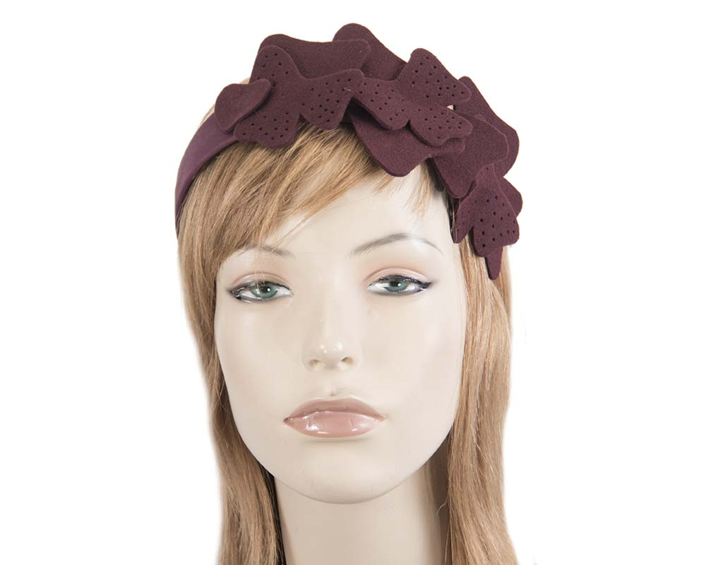 Fascinators Online - Petite burgundy felt winter fascinator by Max Alexander 1