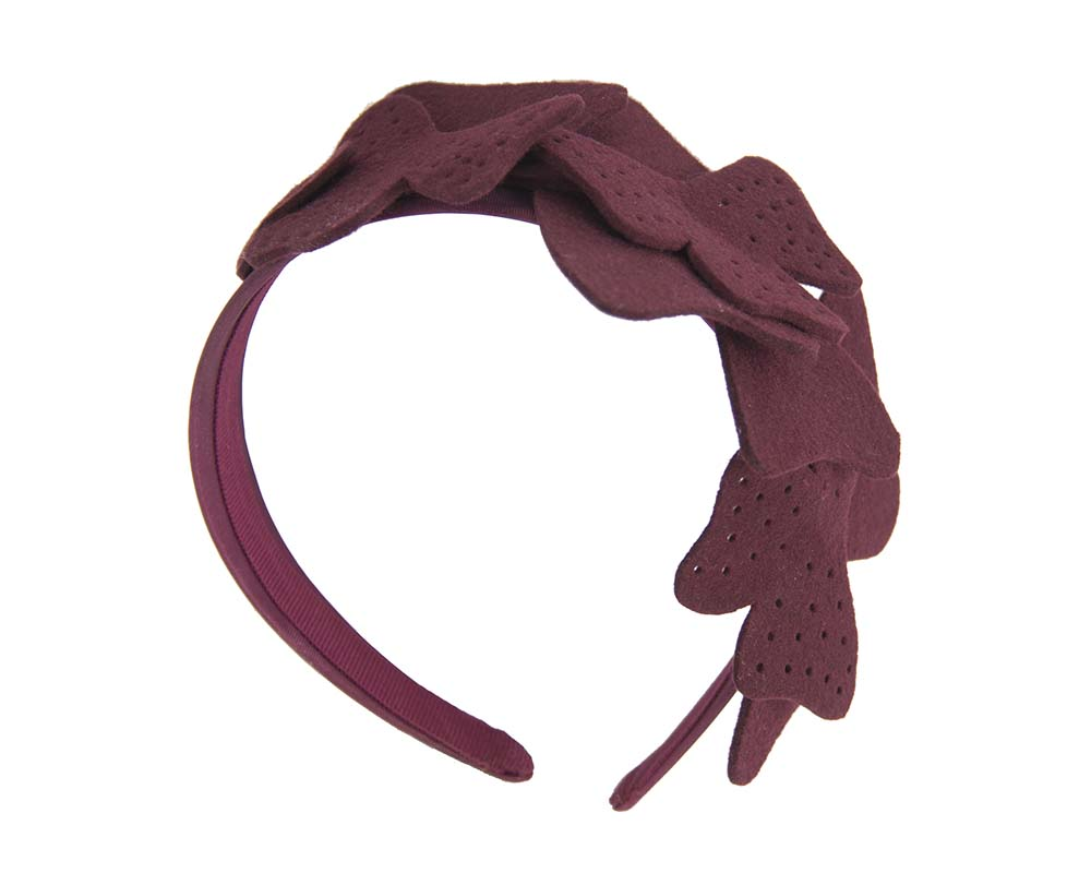 Fascinators Online - Petite burgundy felt winter fascinator by Max Alexander 2