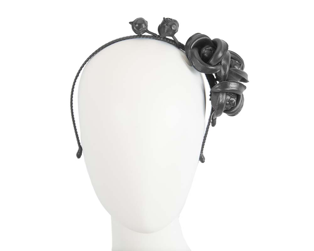 Fascinators Online - Black leather flowers headband by Max Alexander 16