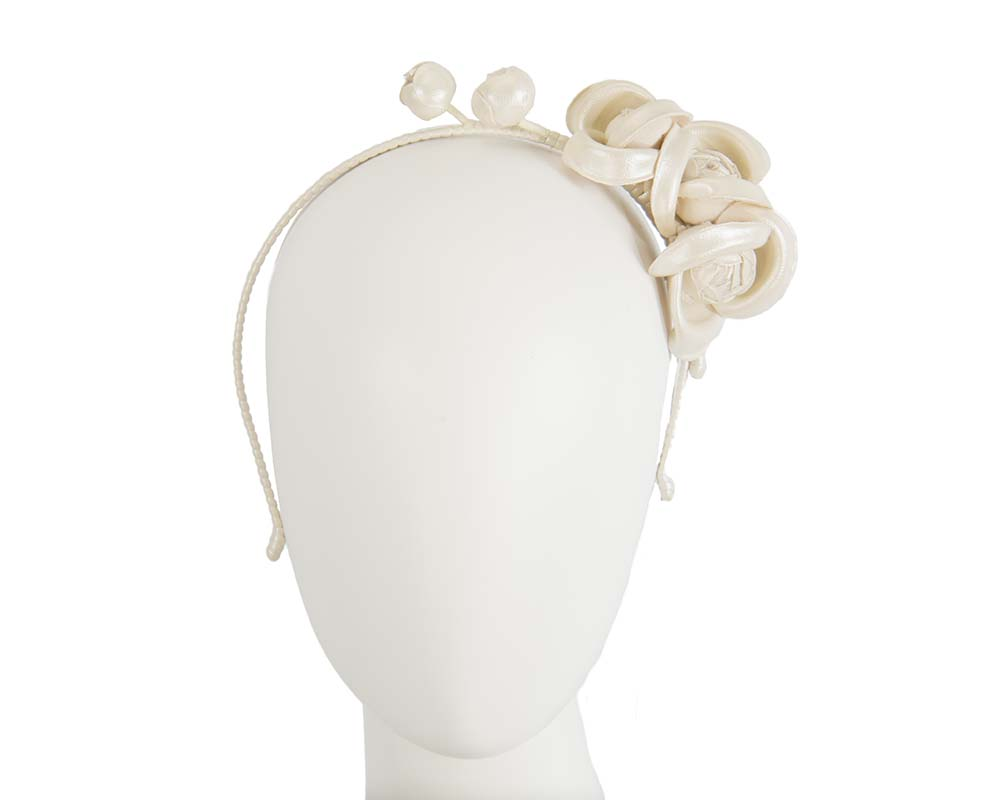 Fascinators Online - Cream leather flowers headband by Max Alexander 14