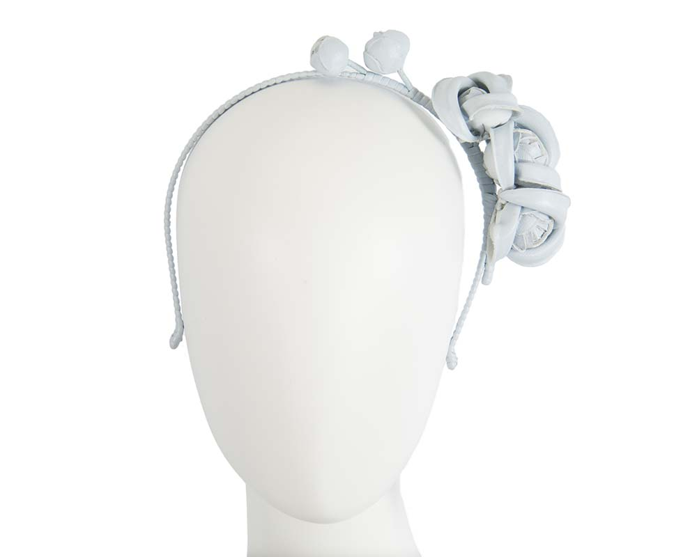 Fascinators Online - Light Blue leather flowers headband by Max Alexander 12