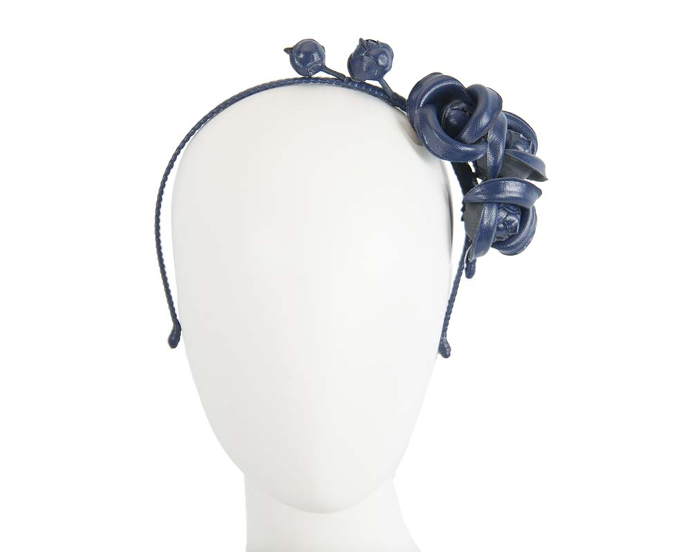 Fascinators Online - Navy leather flowers headband by Max Alexander 15