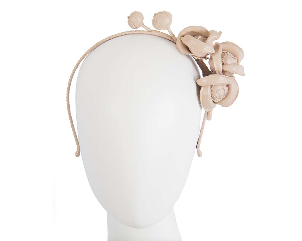 Fascinators Online - Nude leather flowers headband by Max Alexander 2