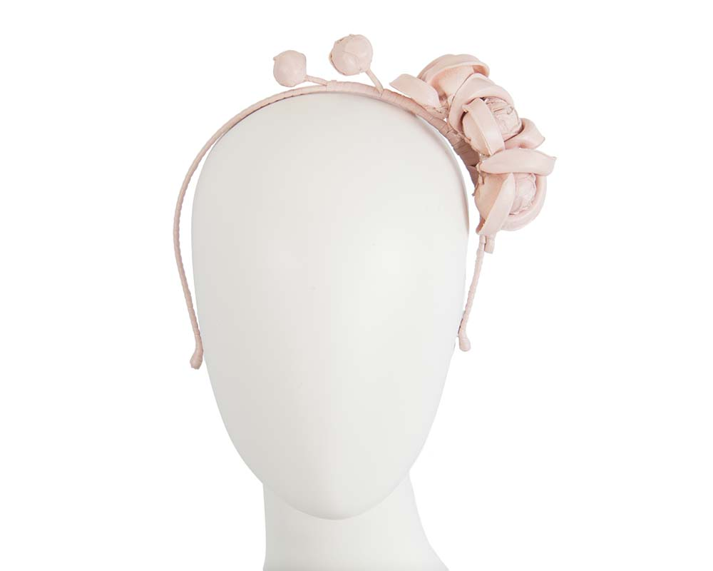 Fascinators Online - Pink leather flowers headband by Max Alexander 11