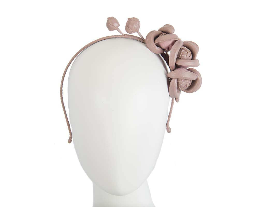 Fascinators Online - Taupe leather flowers headband by Max Alexander 13