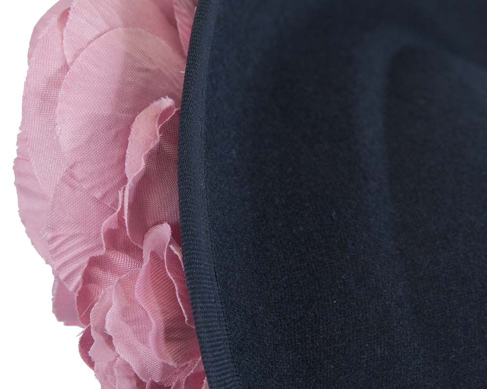 Fascinators Online - Large navy plate with pink flowers by Fillies Collection 4