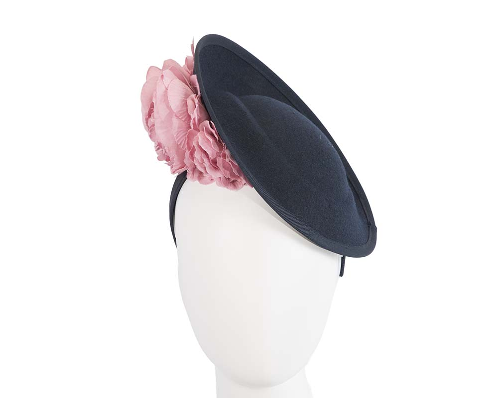 Fascinators Online - Large navy plate with pink flowers by Fillies Collection 1