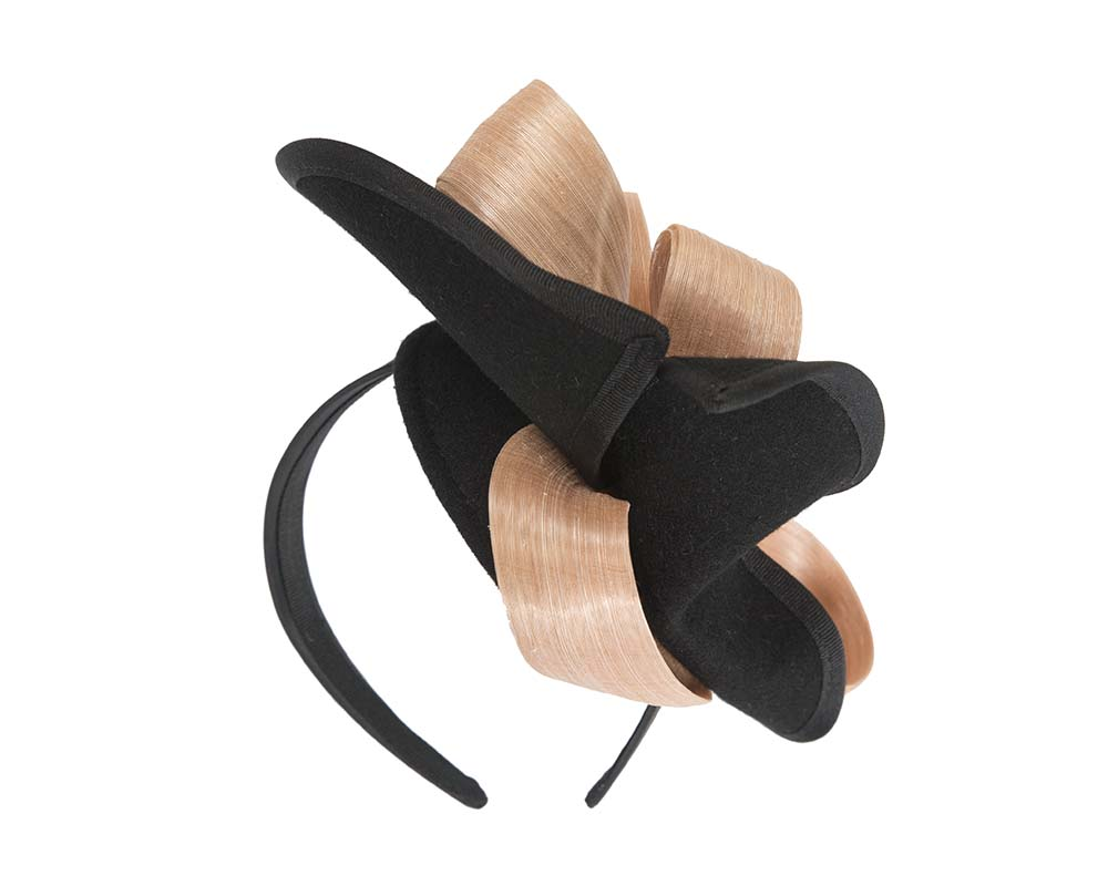 Fascinators Online - Black felt twist with nude bow by Fillies Collection 6