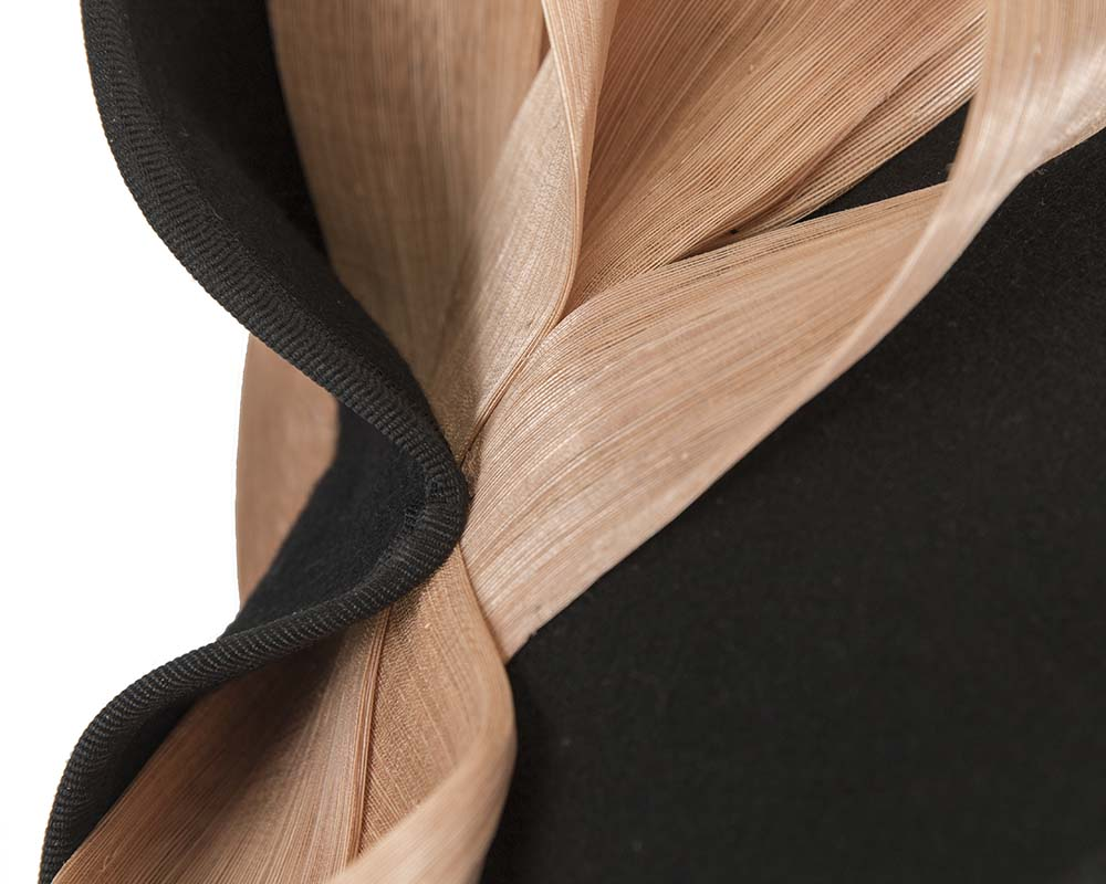 Fascinators Online - Black felt twist with nude bow by Fillies Collection 5