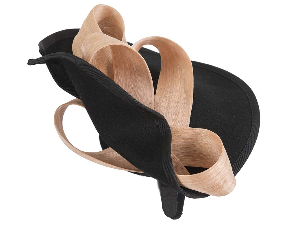 Fascinators Online - Black felt twist with nude bow by Fillies Collection 4