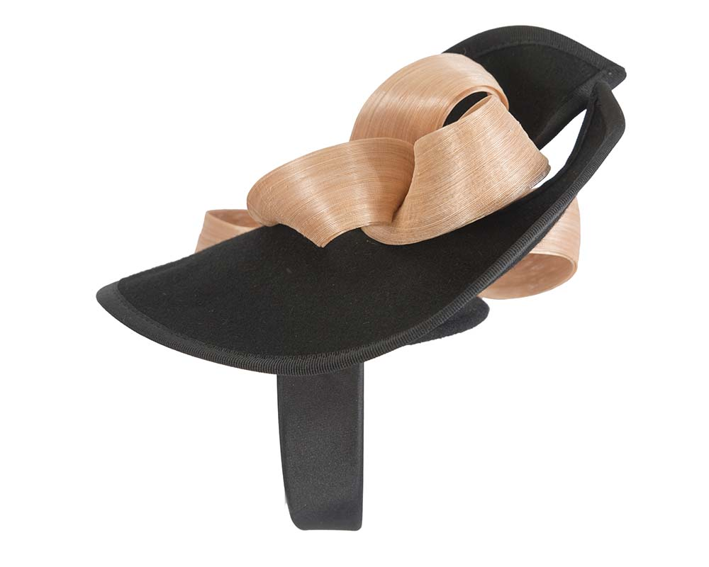 Fascinators Online - Black felt twist with nude bow by Fillies Collection 3