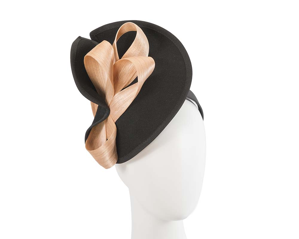 Fascinators Online - Black felt twist with nude bow by Fillies Collection 1